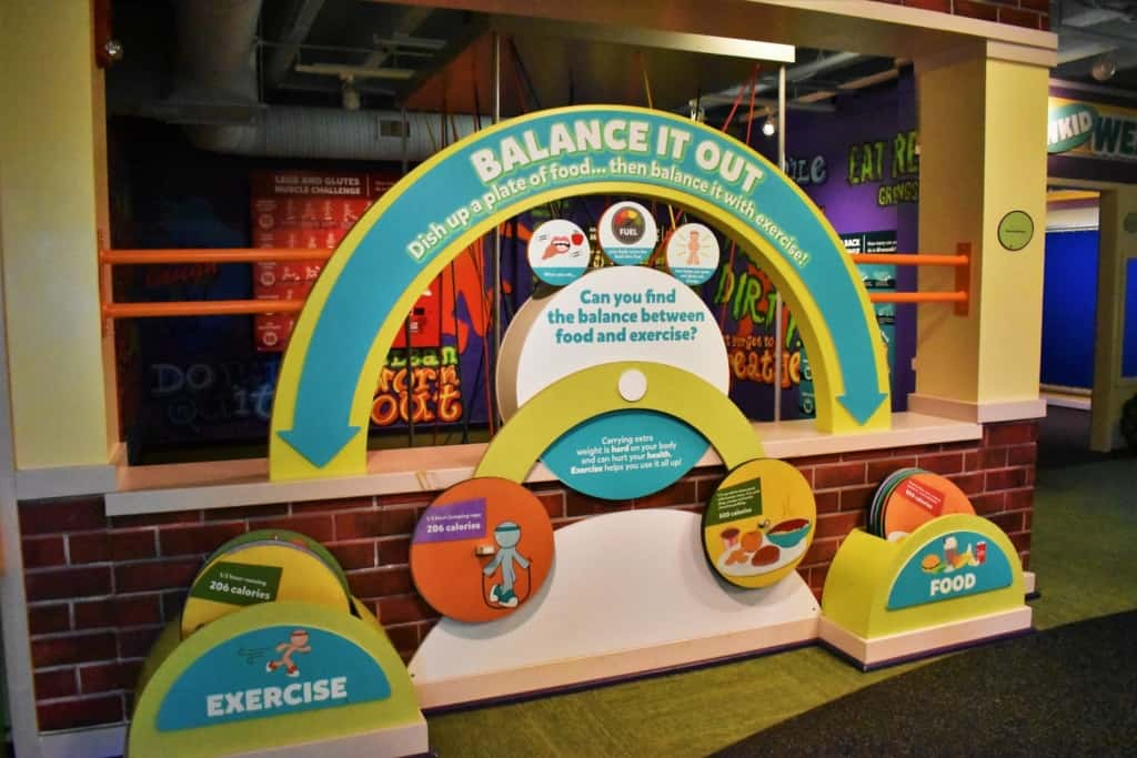 One of the exhibits at Kidzeum teaches visitors how to balance their daily diet between food and exercise choices.