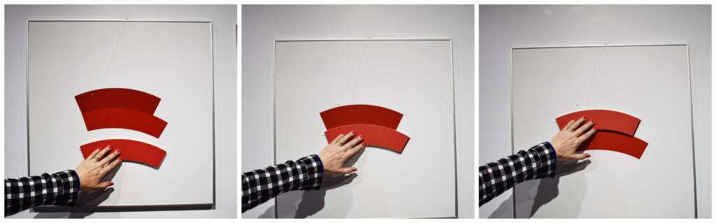 Colors and shapes combine to make an optical illusion about size at the Museum of Illusions KC.