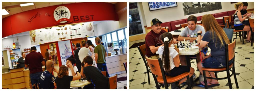 Families enjoy spending some relaxed time together enjoying tasty treats at Oberweis Dairy.