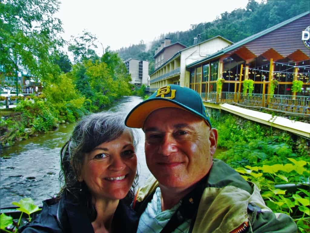 The authors pose for a quick selfie in downtown Gatlinburg, Tennessee.