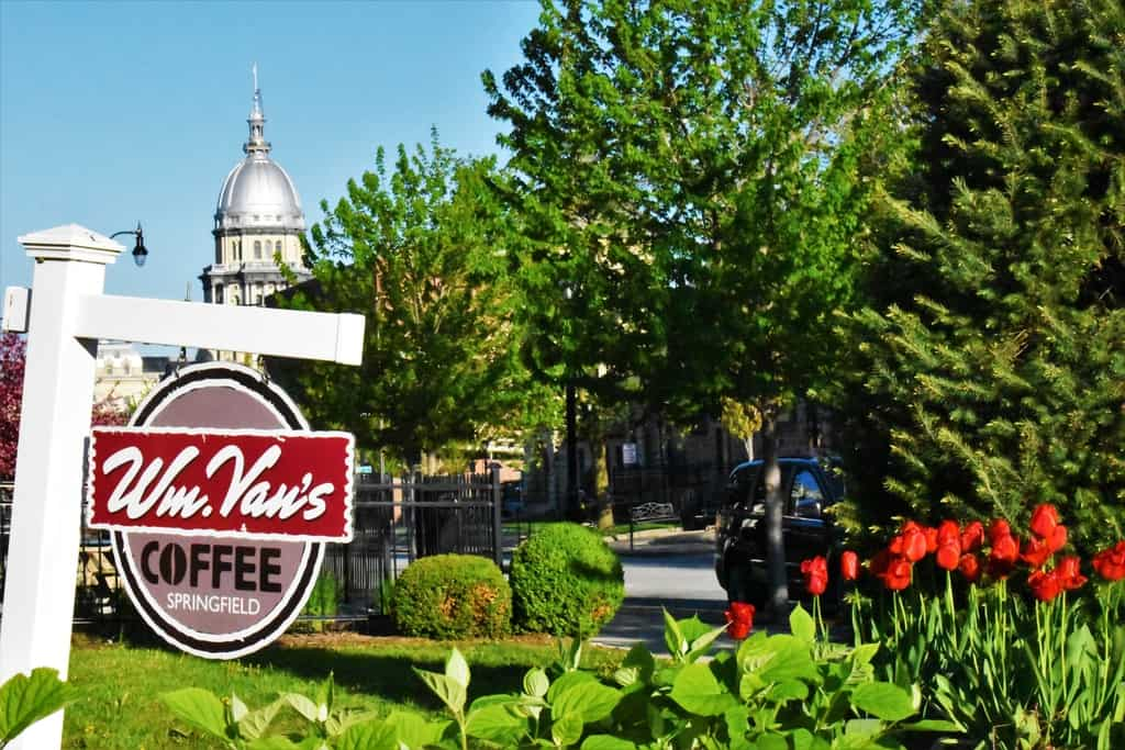 Wm. Van's Coffee House sits nearby the Lincoln home and offers views of the Illinois capital building.