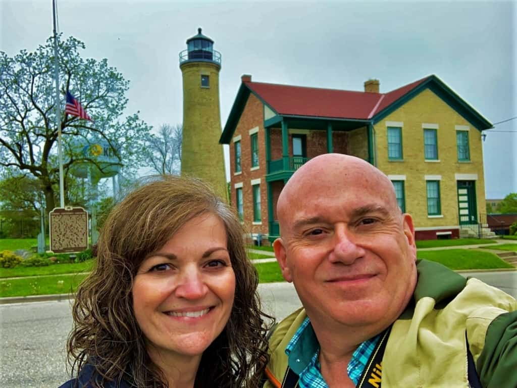 The authors pose for a selfie outside of the Southport Light Station Museum.