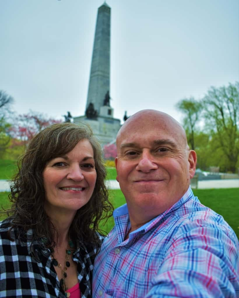 The authors pose after paying respect at Lincoln's Tomb.