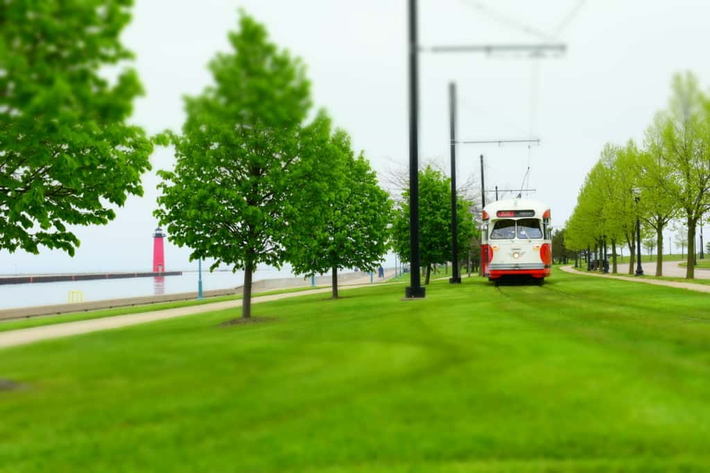 The revived electric street car plies the track along the lakefront area in Kenosha, Wisconsin.
