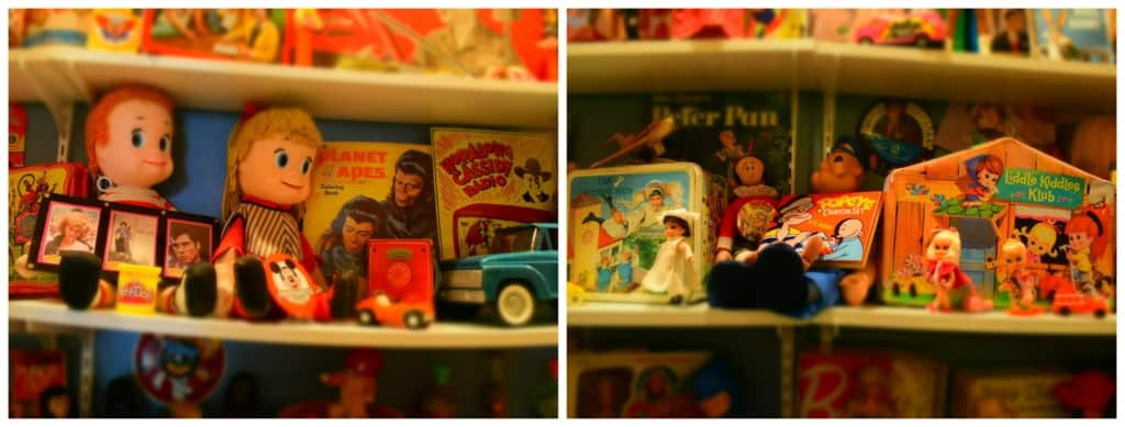 A display of toys from various eras is interesting to guests of the Kenosha History Center.