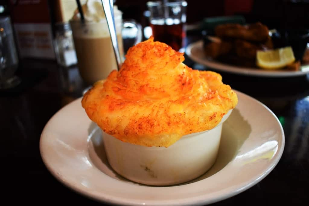 A hearty serving of Cottage Pie is a beefy mix that warms the body on a chilly day.