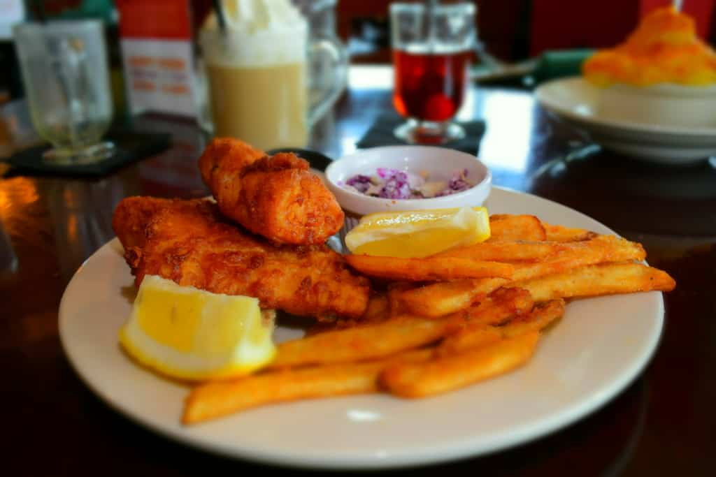 A delicious plate of Fish and Chips can be found at Ashling on the Lough in Kenosha, Wisconsin.