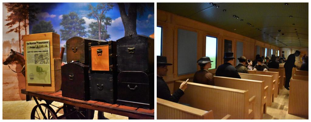 Board the train and hear the stories of passengers departing for the battlefield zones during the Civil war.