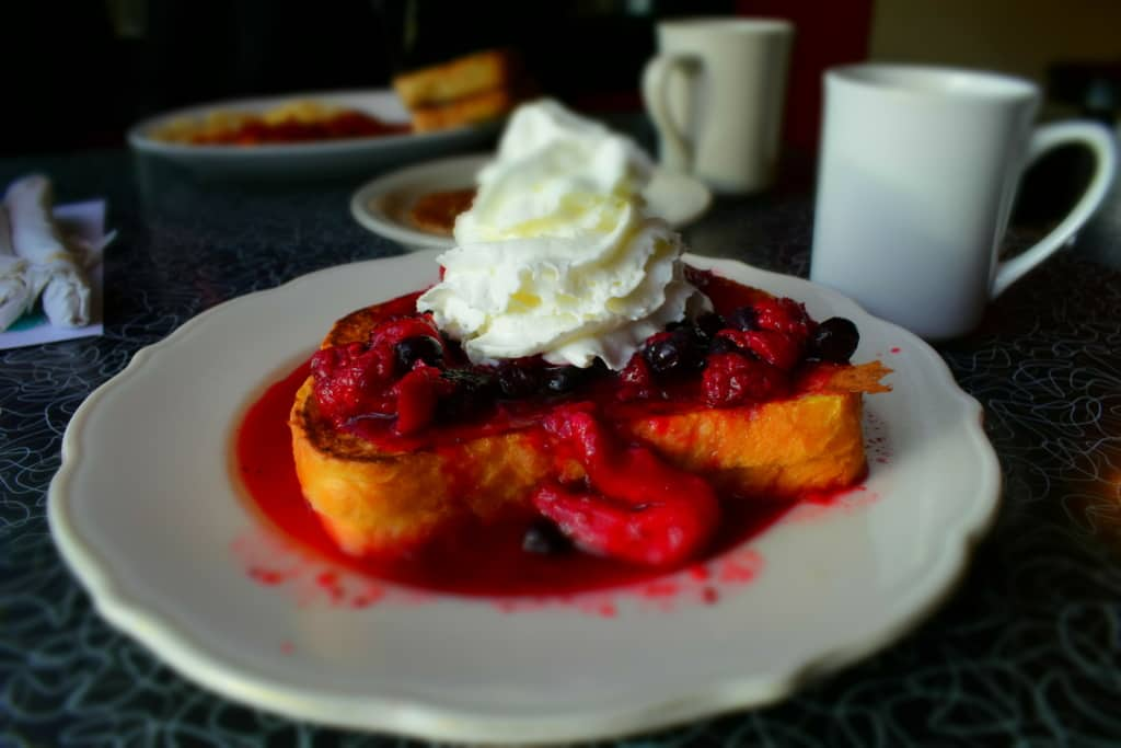 A colorful plate of Stuffed French Toast makes a picture perfect presentation.