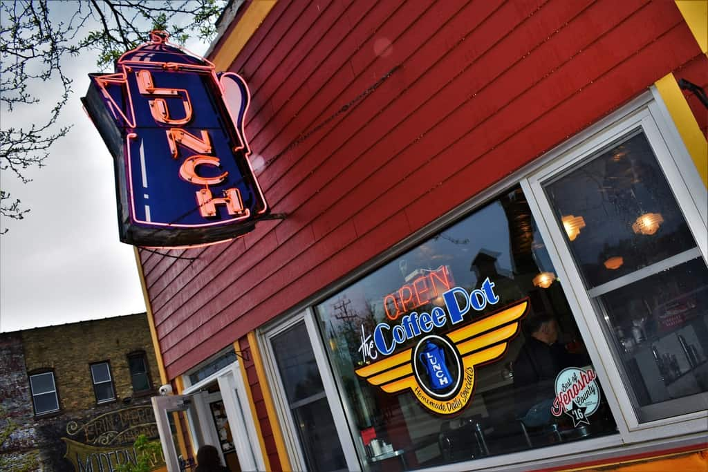 The familiar neon sign points the way to The Coffee Pot in Kenosha, Wisconsin.