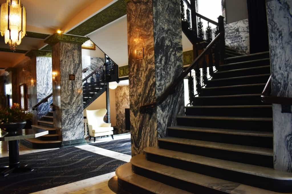 The dramatic marble walls and columns speak of luxury and elegance at the Colcord Hotel in OKC.