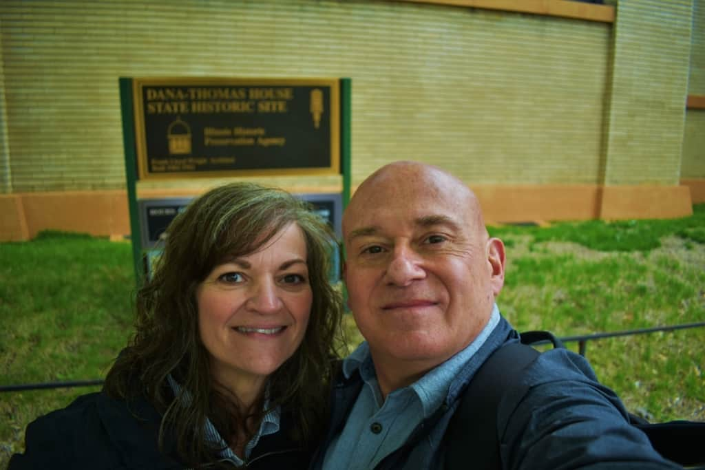 The authors pose for a selfie prior to departing Springfield's Dana-Thomas House.
