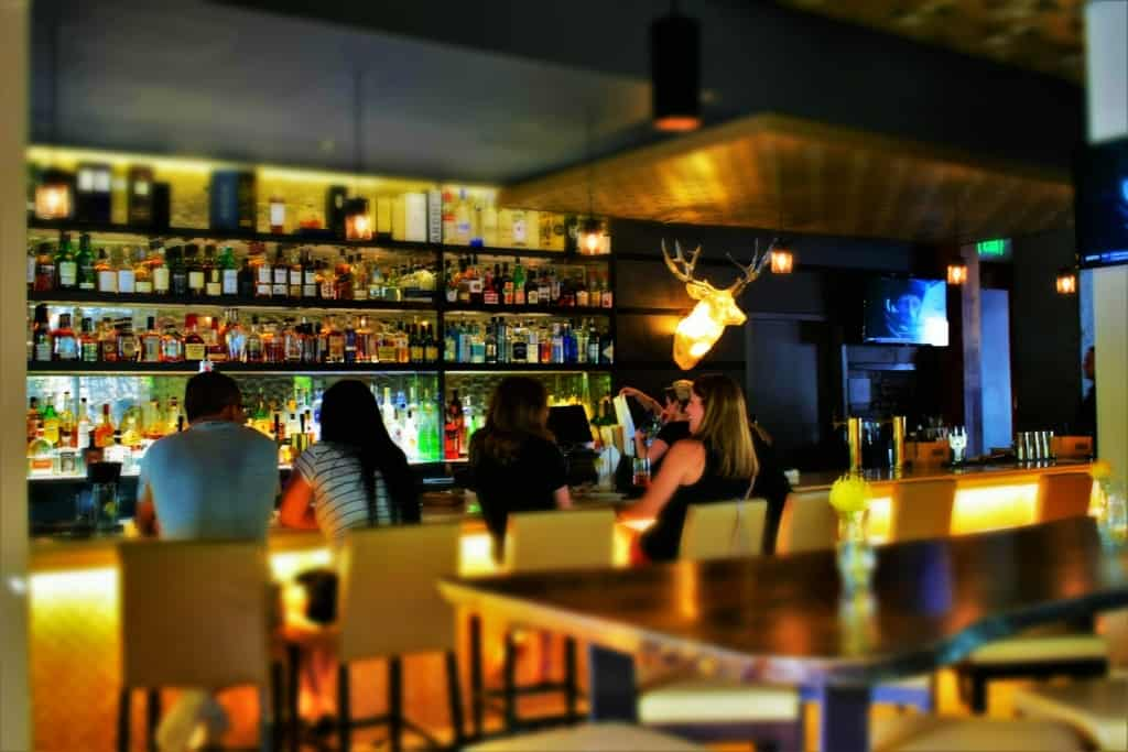 The bar area of Flint Restaurant is a popular place during the late afternoon hours in OKC.
