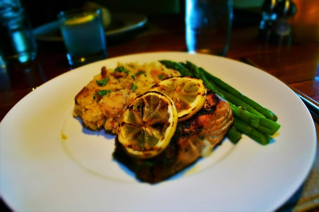 The Herb Crusted Scottish Salmon was a tender, flaky entree with delicious accompaniments.