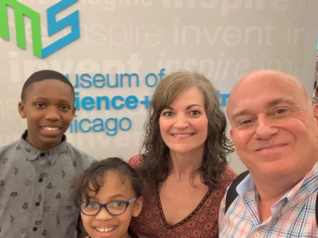 The authors are joined by their grandkids for a science search at the Museum of Science and Industry.