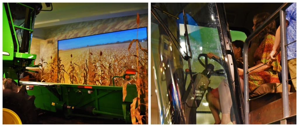 Laila harvested corn in this exhibit designed to show visitors how GPS is used to maximize crop yields.