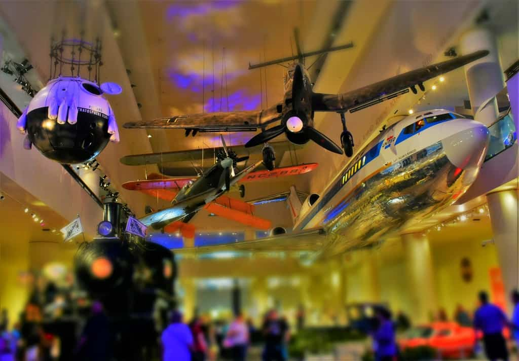 One of the large space at the Museum of Science and Industry is filled with various modes of transportation.