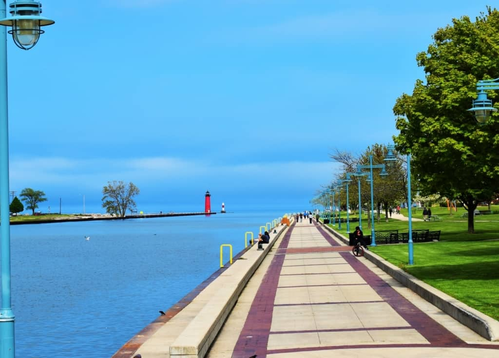 Taking a stroll on the Promenade allows views of Lake Michigan and some local artwork.