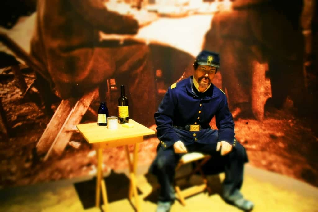 The Civil war Museum in Kenosha shows the reality of alcoholism during the idle times between battles.