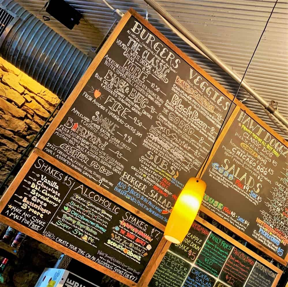 The menu board at The Burger Stand at The Casbah is filled with delicious sounding eats and drinks.