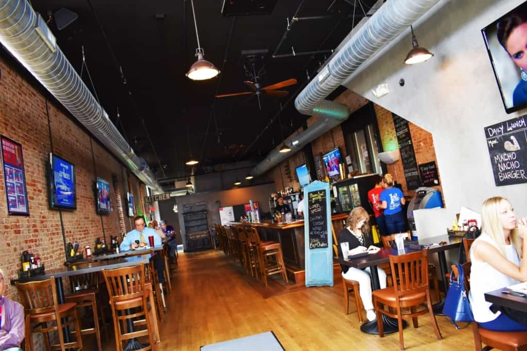The interior of 1st & Main bespeaks of old and new with an industrial feel.