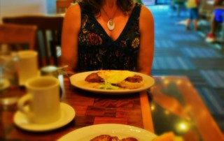 Crystal waits patiently for photos, before we dove into our dishes at Ambrosia Cafe.