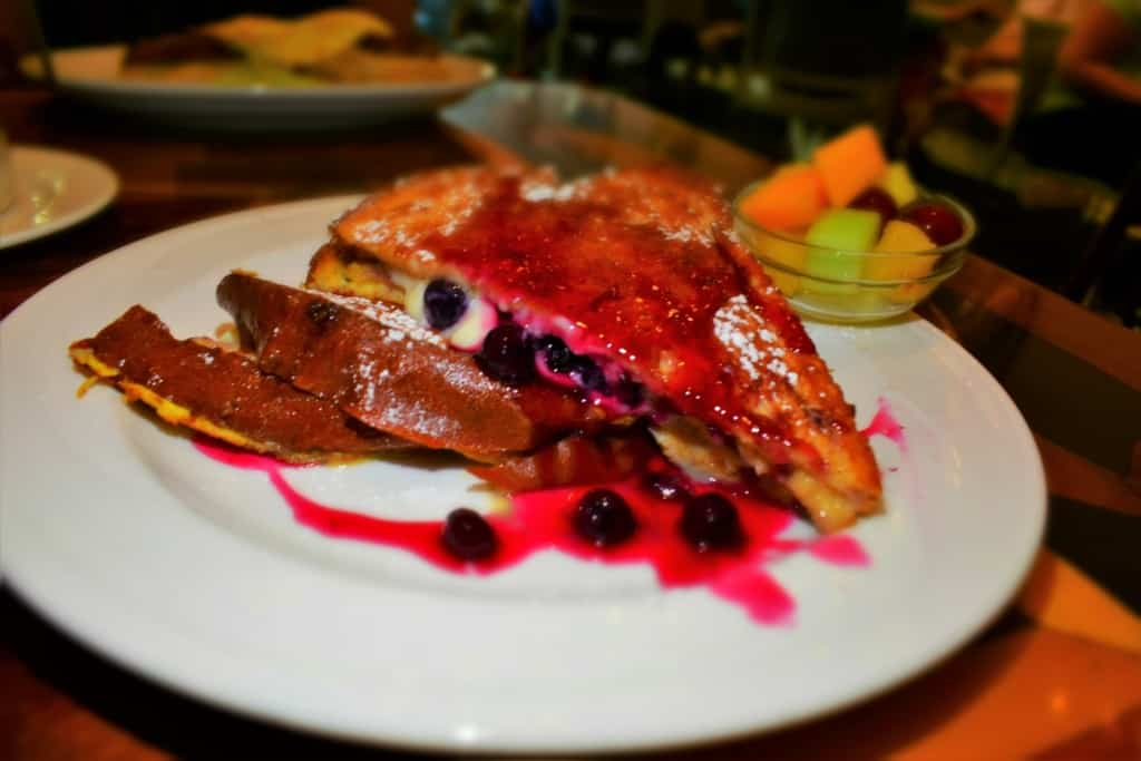 The Blueberry Stuffed French Toast was a sweet treat at Ambrosia Cafe.
