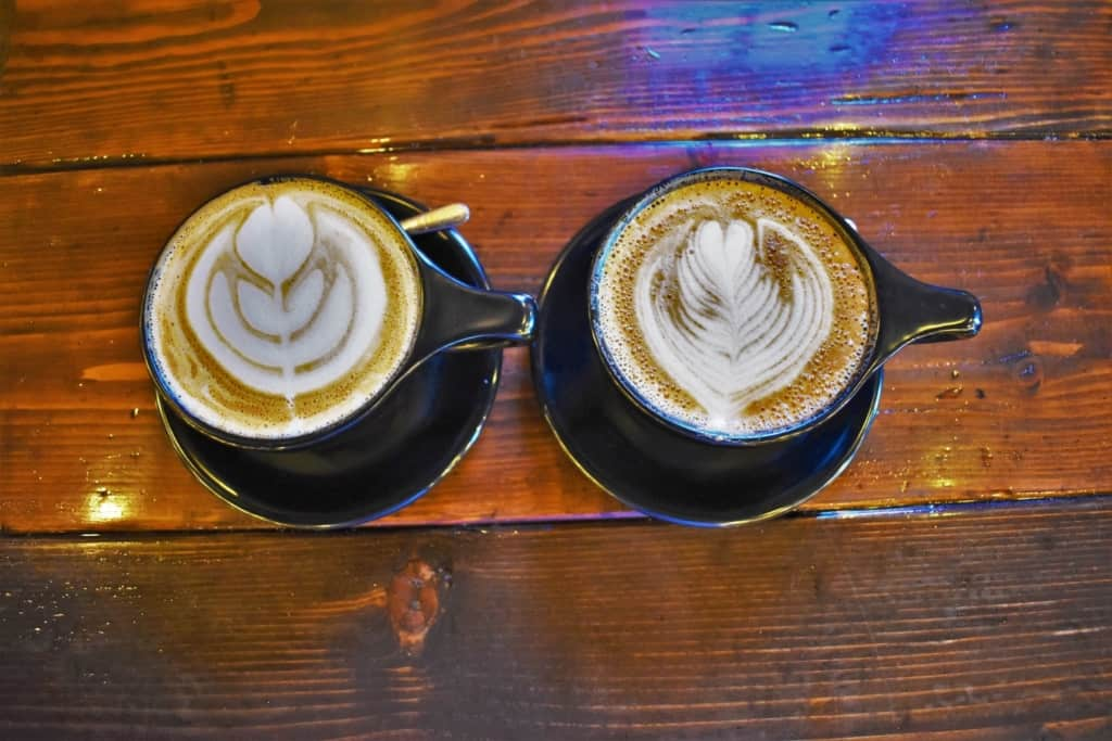 A pair of lattes offer a pleasing pattern.