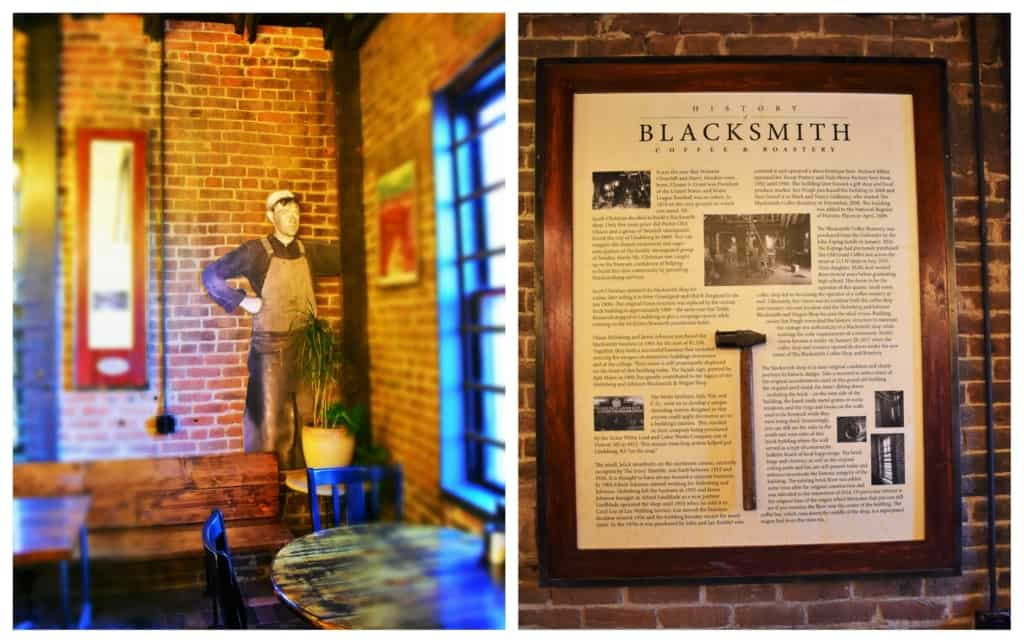 The history of the structure is available for visitors to Blacksmith Coffee.