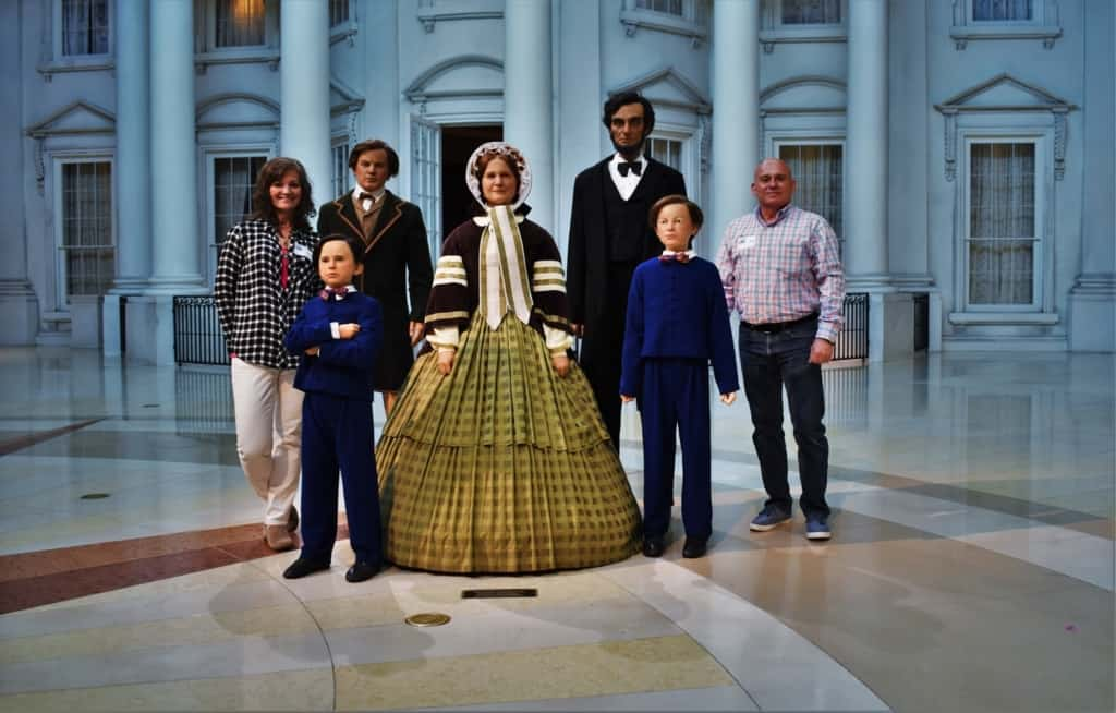 The authors find immersing in history includes posing with the Lincoln family.