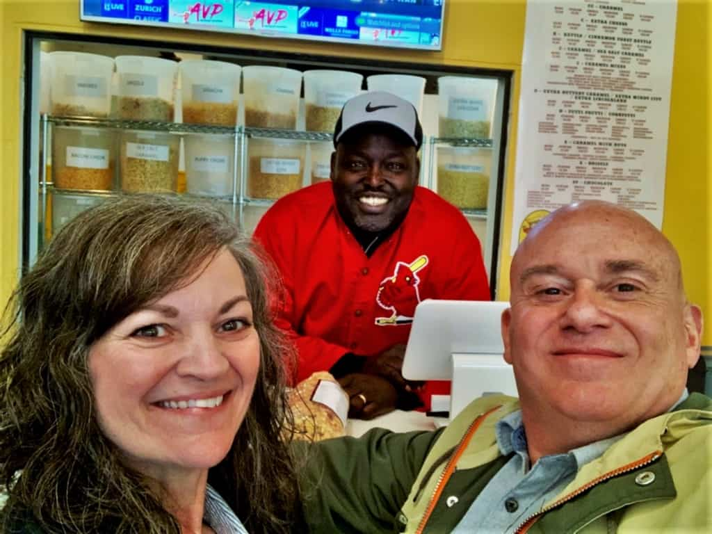 The authors pause for a selfie with one of the local business owners in downtown Springfield.