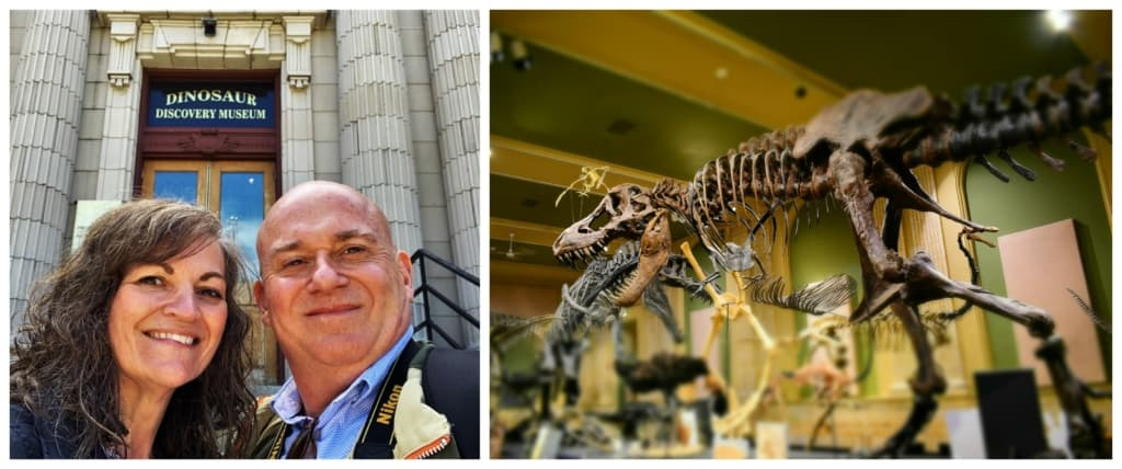 The authors enjoy a prehistoric adventure during their visit to the Dinosaur Discovery Center.