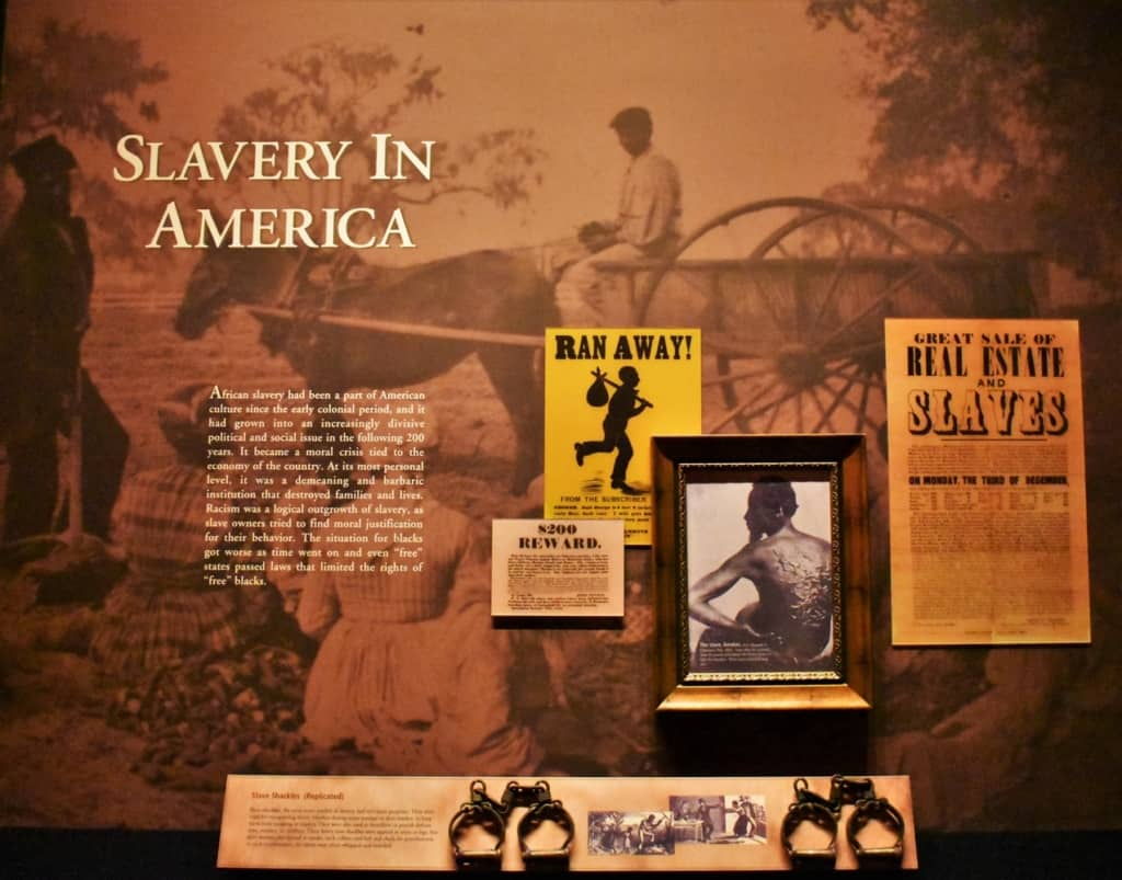 An exhibit at the Abraham Lincoln Presidential Museum showcases some of the horrors of slavery.