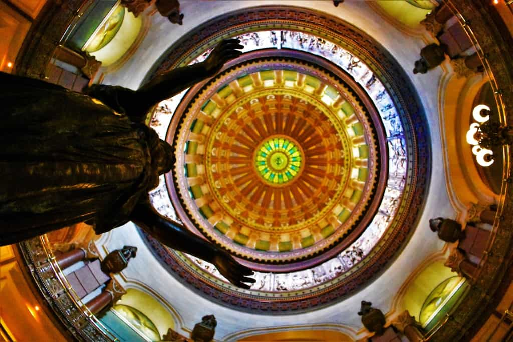A view of the inside of the Capitol dome in Springfield, Illinois.