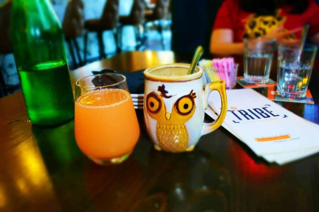 Funky cups and low cost mimosas make brunch a fun event on a rainy Sunday morning.