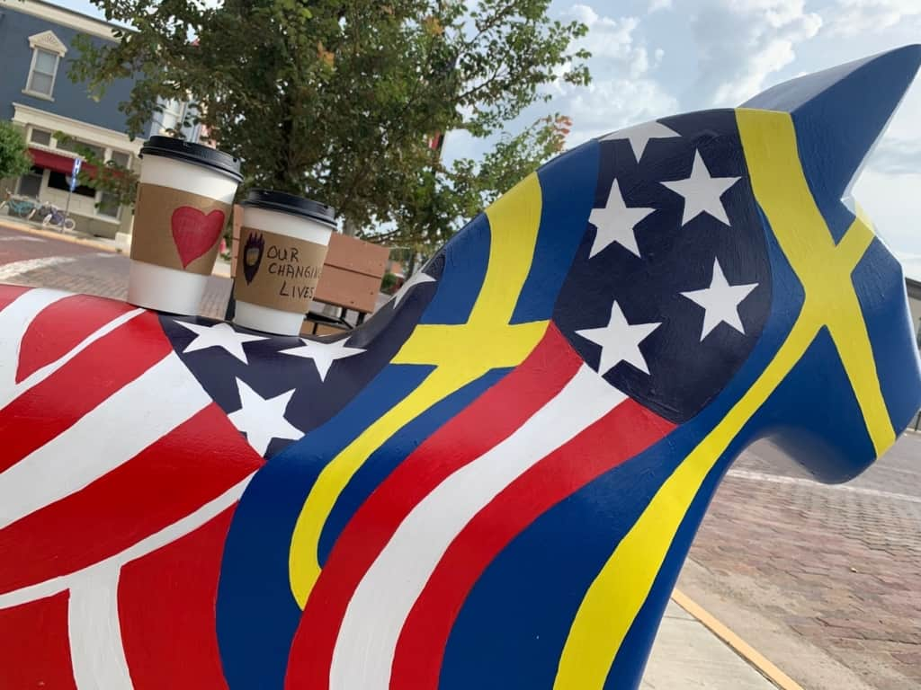 My favorite Dala horse had a blend of Sweden and United States flag colors.