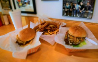 A meal for two can be assembled with burgers, fries and satisfaction.
