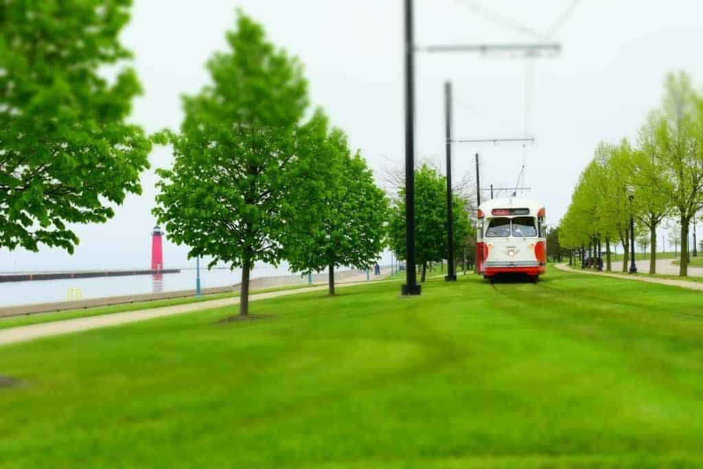 The restored streetcars help visitors navigate downtown Kenosha, Wisconsin.