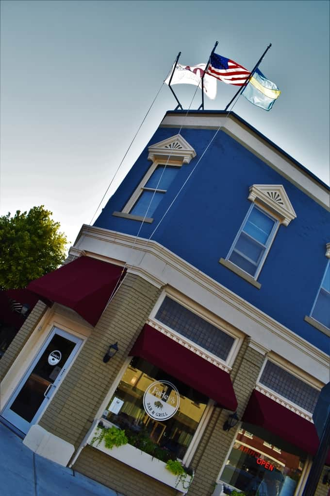The exterior of Farley's Bar and Grill is a wonderful combination of modern and traditional.