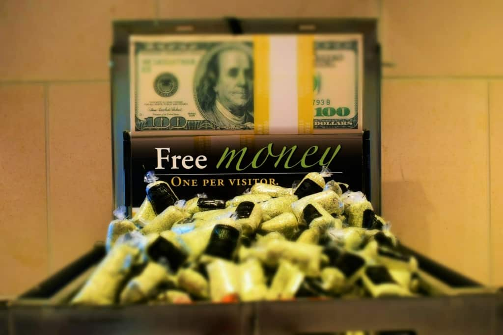 If you want some free money, it can be found at The Money Museum in Kansas City.