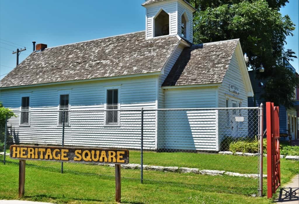 Heritage Square is a collection of historic buildings across from the Old Mill Museum.