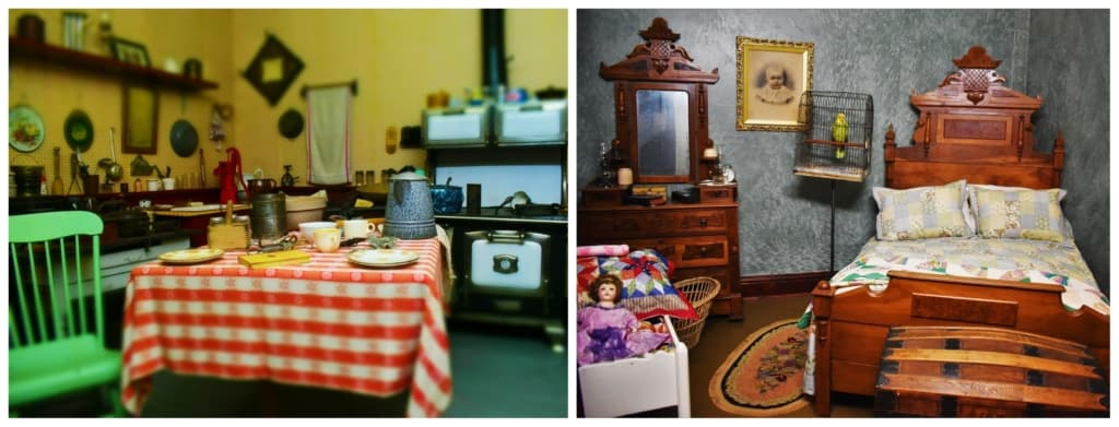 Some of the exhibits at the Old Mill Museum showcase family life in the early days of Lindsborg, Kansas.