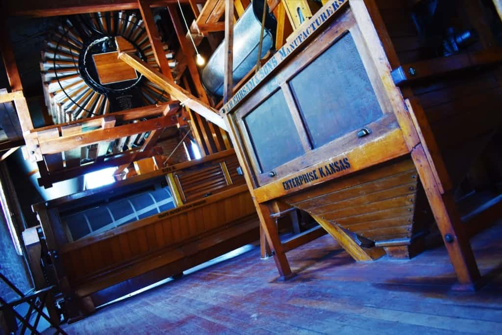 The Old Mill Museum is filled with the equipment required to create flour.