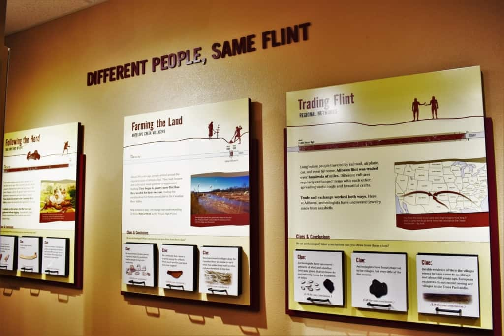 An exhibit at the Alibates Flint Quarries Museum displays the trade uses of the flint from the area.
