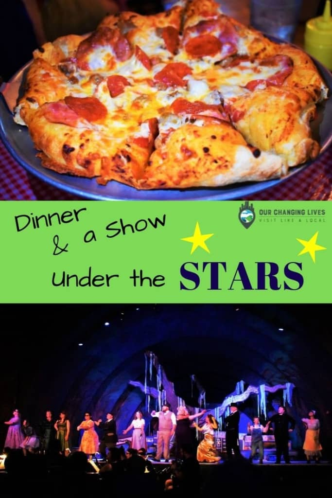 Dinner and a show-under the stars-Lindsborg, Kansas-Brickhouse Grill-Broadway RFP-live theater-pizza