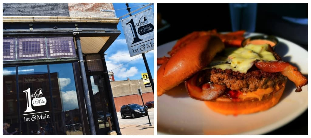 When we discovered that 1st & Main had a PB&J version of a hamburger, it rose to the top of our lunch list.