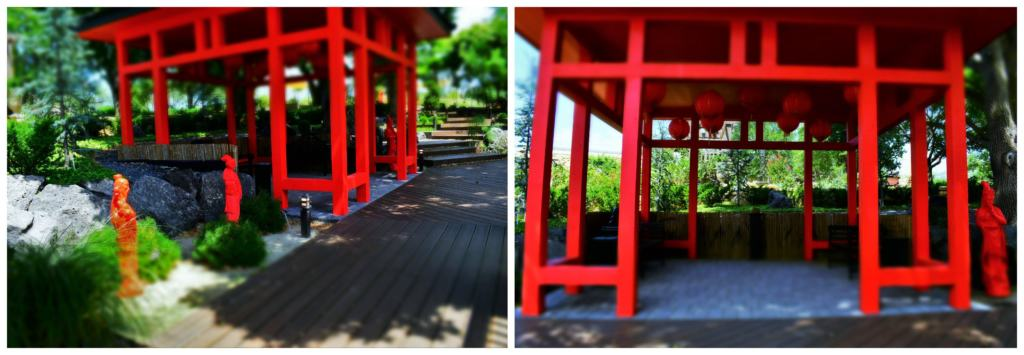 A bright red pavilion makes a great spot to sit and take in the sights and sounds of the gardens.