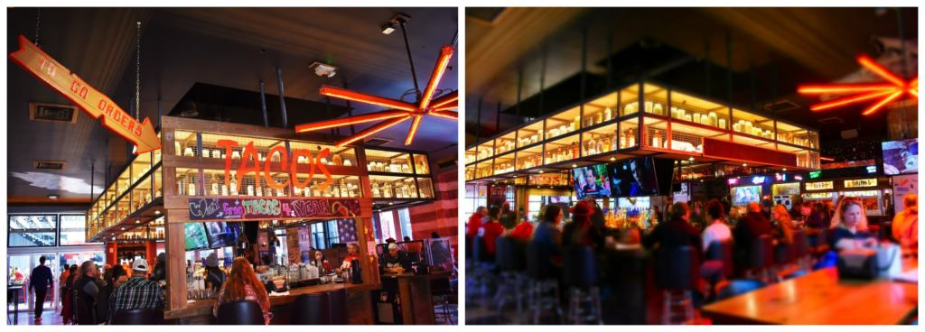 The interior of Guy Fieri's Dive & Taco Joint is a combination of dive bar and local hangout.