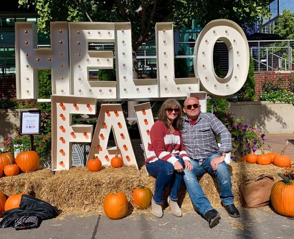 The authors enjoy a selfie spot at the newest Fall festival in Kansas city.