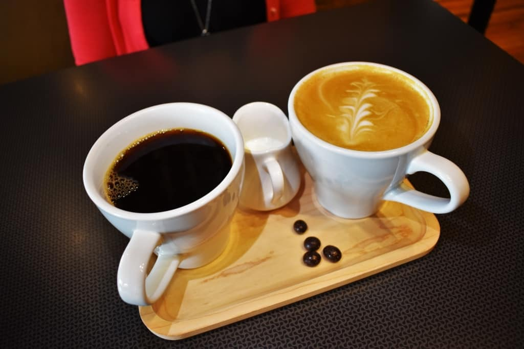 Even the coffee is served with an industrial chic flair, at Inspire Cafe in Dubuque, Iowa.